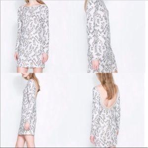 Zara White Sequin long sleeve bodycon dress